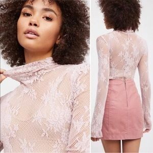 Intimately Free People Floral Lace Turtle Neck